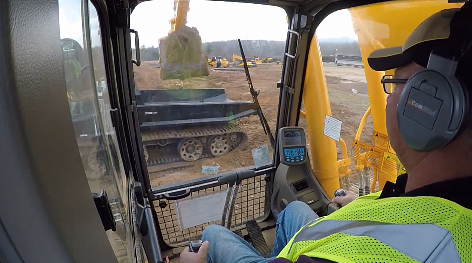 Viewers were treated to in-cab view of an excavator loading a Prinoth Panther utility vehicle.